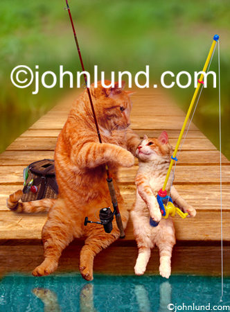 A father and son go fishing on the end of a pier in this for Cats go fishing