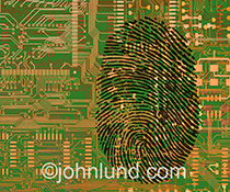 A fingerprint is etched onto a computer circuit board in an image about security and identity protection in the age of technology and networking.