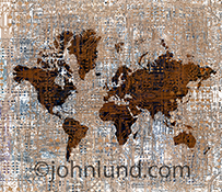 The world is connected by an intricate network of computer circuitry in this stock photo featuring a global map multiple exposed with a complex layer of computer traces creating global connections.