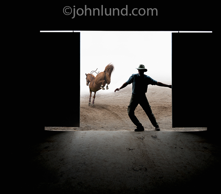 A man closes the barn door after the horse is gone in this concept stock photo about prevention, timeliness and procrastination.