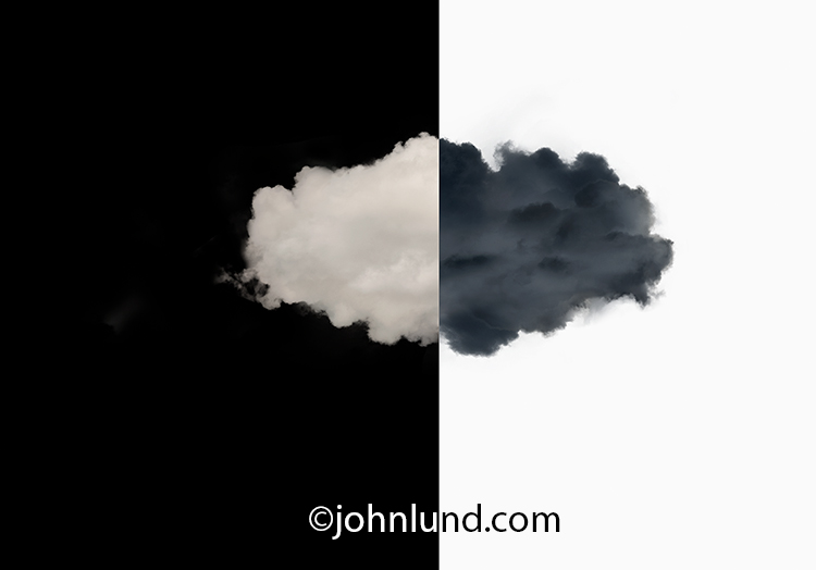 A single cloud is isolated, half in white and half in black, in Yin Yang effect on a black and white background in a stock photo about the pros and cons of cloud computing.
