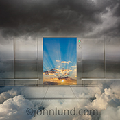An elevator embedded in clouds has an open door revealing a God Ray sunrise in a stock photo about access to online computing and success in the cloud.