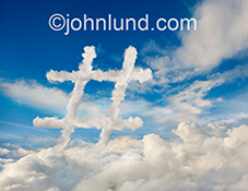 A hashtag, made of clouds, is seen above a cloud bank in this stock photo about trending and related concepts.