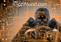 A computer hacker in a black ski mask seeks entry through computer circuitry in this cyber crime photo.