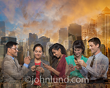 A business team, connected through communications technology, is seen layered against a futuristic city in a stock photo about social networking, mobile connections, and a distributed workforce.
