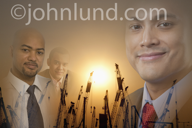 Three construction industry executive portraits montaged with sunrise over cranes symbolizing the people behind construction growth.