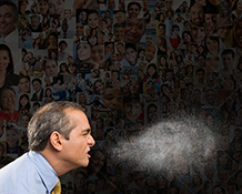 In this corona virus sneeze image a man sneezes sending out a spray of covid-19 virus particles against a back drop of social media portraits.