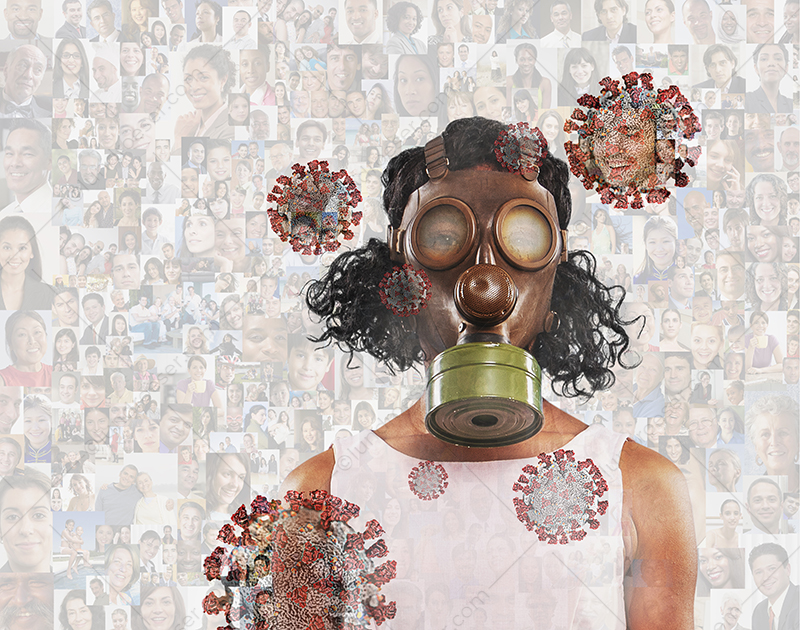 Coronavirus and covid-19 protection is the concept behind this image of a woman wearing a gas mask against a background of social portraits and coronavirus molecules.