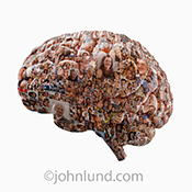 Social media and the crowd brain are addressed in this image of a human brain composed of hundreds of individual portraits.