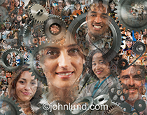 The faces of a crowd are super imposed over a complex arrangement of gears in a metaphorical image about the workings of social media and crowd sourcing.