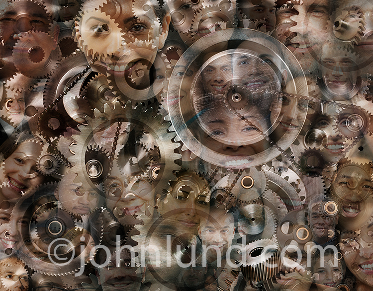 This montage of social media portraits and gears is a visual metaphor for how social media works, social media infrastructure, and social media at work.