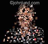 A multi ethnic deconstructed digital portrait is composed of pixel-like pieces of various portraits resulting in a stock photo for showing diversity, digital assistants, and a digital workforce.