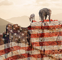Democrats and republicans, represented by a donkey and elephant, stand at the edge of cliff looking down at the abyss they face.