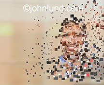 This digital portrait assemblage stock photo is created from pixel-like bits of various other portraits to indicate a wide range of ideas from digital workforces to global connections.
