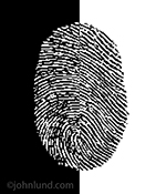 A digitized fingerprint image, a stock photo, can be used to illustrate concepts around hackers, online security, and digital detective work.