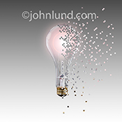Creativity, ideas and innovation in the digital age are illustrated in this stock photo of a light bulb digitally deconstructed into spreading pixels all shown on a gradated gray background.