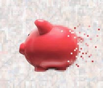 This digital piggy bank is forming from pixels in a stock photo about savings, investment, and finance in the digital age.