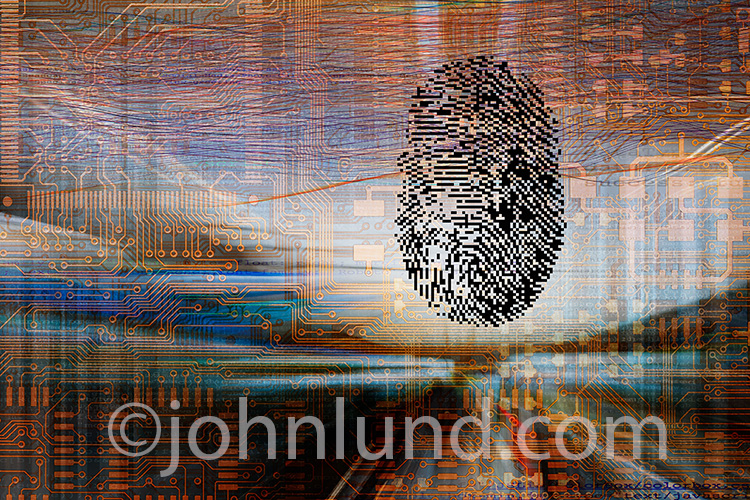Cyber security and the risks and dangers of online activity and big data mining are the concepts illustrated in this futuristic image of a digital fingerprint against a background of computer circuitry and streaming data.