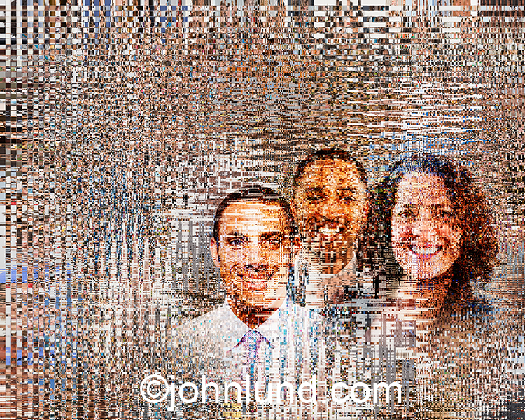 A digital team is portrayed in this stock image of three business people combined with digitized packets of information. The result is a high tech teamwork image for the age of big data and cloud computing.