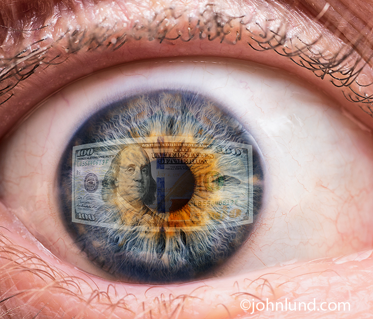 Keep your eye on the money is certainly reflected (pun intended) in this stock photo of money reflected in a close up image of a human eye.