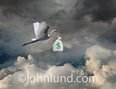 A stork carries a bag of money in it's beak as it flies through a dramatic cloudscape in a visual metaphor for e-commerce through the cloud, cash flow solutions, and emergency loans.