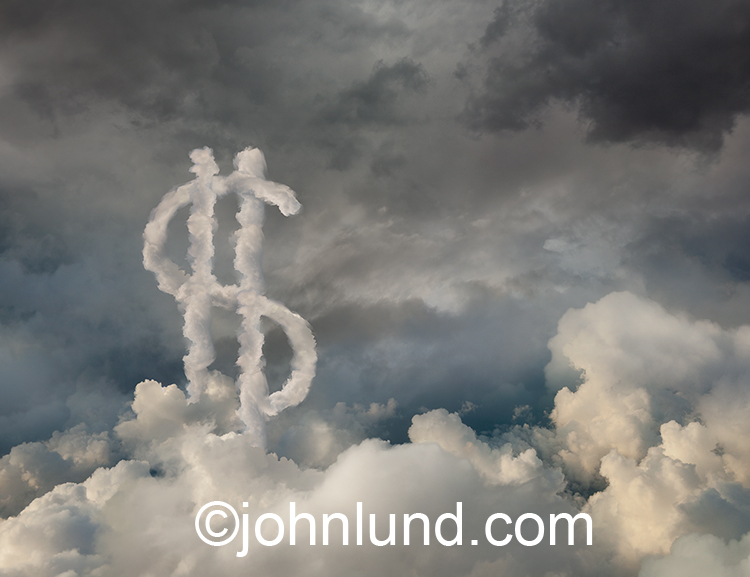 Opportunity and possibilities are evidenced in this stock photo showing a dollar sign of clouds in the clouds.