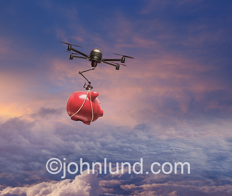 A drone delivers a piggy bank in this stock photo about finance, investment and savings in the digital age.