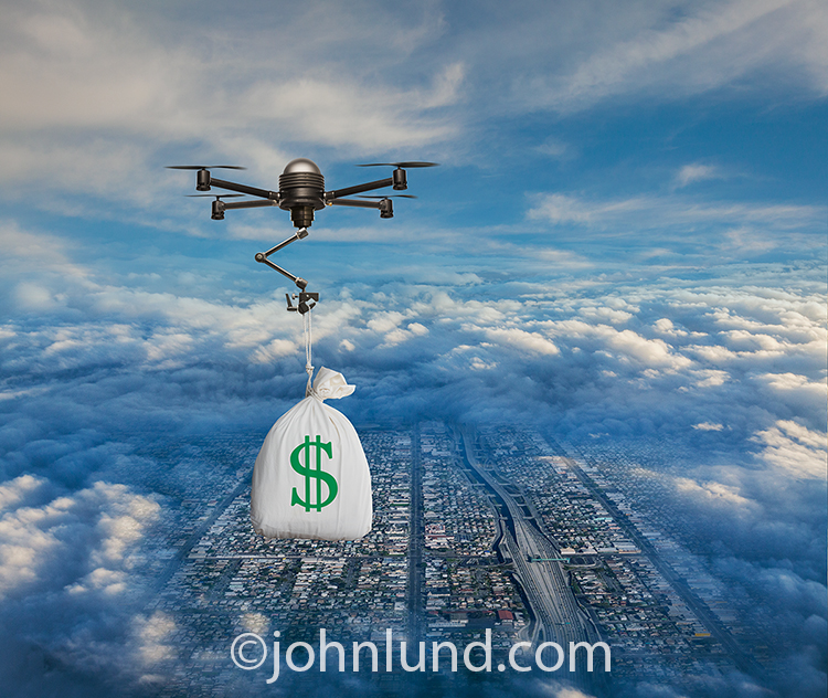 A drone, high above Los Angeles, carries a bag of money in a stock photo abut e-commerce, online transactions, and the future of business.