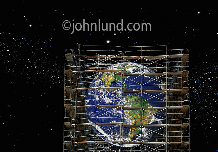 Earth is rebuilding and surrounded by scaffolding in this stock photo about environmental and ecological issues.
