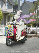 An Easter Bunny rides a scooter with a basket filled with colorful Easter eggs as he fulfills his mission of bringing delight to children everywhere.