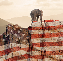 An elephant representing the Republican party stands at the edge of a cliff looking down into the abyss in a humorous look at partisan politics in America.