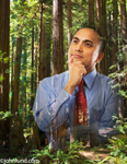 An Hispanic Businessman Stands in Contemplation superimposed over a redwood forest in a picture about ecology and environmental responsibility.