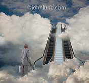 A pair of escalators rise up through the clouds as a businessman contemplates moving his operations  to