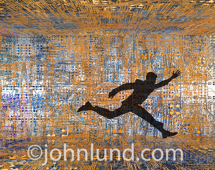 The technology race is the central concept behind this stock photo of a businessman's silhouette seen racing through a structure created from computer circuitry.