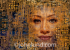 A hauntingly beautiful woman's face appears within a complex network of computer circuitry in a stock photo about hackers, artificial intelligence and the future.