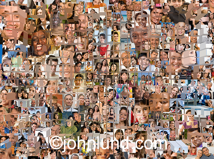 Fragmented faces of the crowd, online community, or tribe is the subject of this image that combines over two hundred individual model-released portraits in one powerful composite photo.