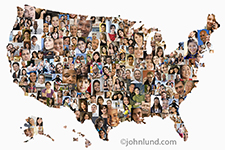 A map of the United States of America is filled with people's faces in this demographic and social media photographic look at America.