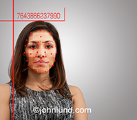 Facial recognition stock photo.