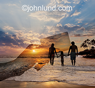 The ghostly image of a hand holding a credit card hovers over a family walking along a tropical beach in an image about vacations made possible by credit card.