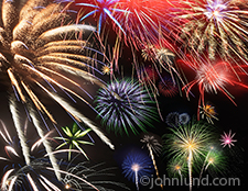 A close up photo of a huge fireworks display filled with color and motion in a visual metaphor for celebration, excitement and vitality.