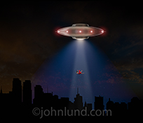 This flying saucer stock photo features the alien spacecraft hovering over the New York skyline and using a tractor beam to abduct a beautiful woman in a bright red dress.