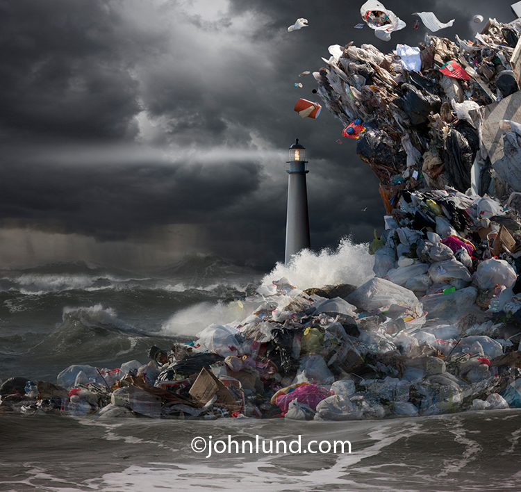 A huge wave or Tsunami of garbage crashes into the sea around a lighthouse in a stock and fine art photo that brings attention to the problem of plastic and other pollution in our oceans.