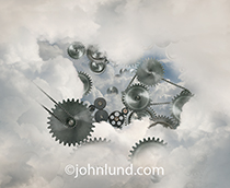 This image of gears within the cloud is a metaphor for the infrastructure that allows for cloud computing, networking, social media and the Internet.