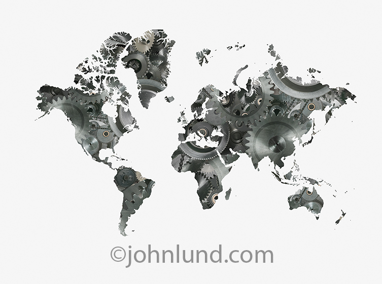 A world map in which the continents are filled with a complex gear arrangement in a metaphor for how the world works, global business, and International trade.