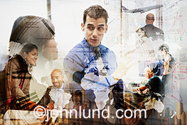 Global business is portrayed in this dynamic stock photo of people in  meetings with a montage of a clock face, the earths's continents, a jetliner aircraft, and whiteboard plans.