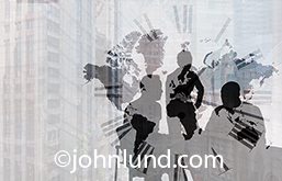 Global meetings and business deadlines are the primary concepts behind this image that combines three executives in a meeting with a global map and a clock face superimposed and given a stark and graphic treatment.