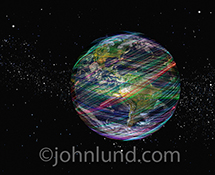 Fast global communications is just one of the many concepts this networking stock photo can artfully illustrate with it's multi-colored speeding light trails encasing the planet earth.
