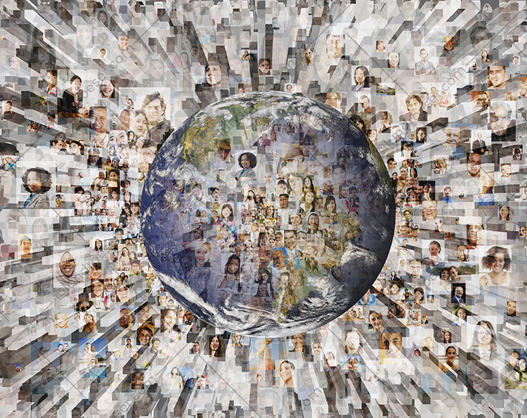 Global social media is the concept of this stock photo featuring over a hundred social media portraits multiple-exposed with the planet earth and a big data graphic.