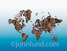 Countless faces look out from a map of the continents in a stock photo about a global workforce, global commerce, and global connections across the continents.