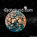 Concept stock photo of the planet earth with a dried and cracked surface demonstrating ecological disaster and global warming. Dry cracked land.